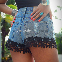 Lace denim shorts Levi high waisted lace jeans shorts high rise black lace shorts by Jeansonly