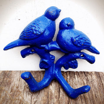 Love Birds Branch Wall Hook - Hand Painted Vintage Inspired Shabby Cottage Chic - Cobalt Navy