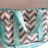 Custom Made Extra Large Diaper bag Made of Chevron Fabric / You Pick Colors