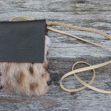 Bobcat Spirit Medicine Bag with Natural Fur, New Zealand Deer Leather, Simple Laced Shamanic Pouch Necklace