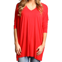 Red Piko V-Neck Half Sleeve Tunic