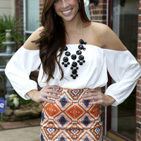 Fun Tribal print Sequin Skirt from Monica's Closet Essentials