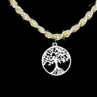 Tree of Life on Hemp Spiral Necklace on 20 Inch Necklace