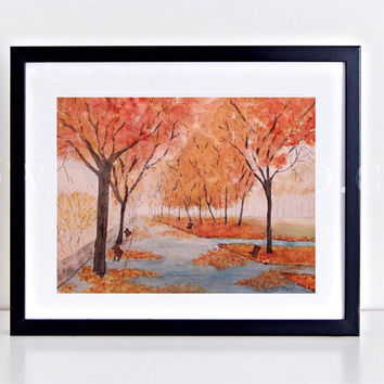 Fall watercolor Print, Original Watercolor landscape painting, Central Park, serene Watercolor Trees, Blue and Orange, Living room artwork