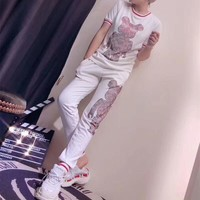 Louis Vutitton x Supreme Women Casual Fashion Hot Fix Rhinestone Robot Bear Pattern Short Sleeve Trousers Set Two-Piece Sportswear