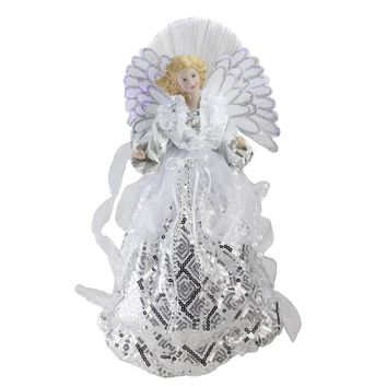 "16"" Lighted Fiber Optic Angel in White and Silver Sequined Gown Christmas Tree Topper"