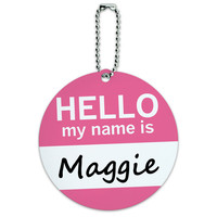 Maggie Hello My Name Is Round ID Card Luggage Tag