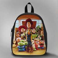 Toy Story Box woody, School Bag Kids, Large Size, Medium Size, Small Size, Red, White, Deep Sky Blue, Black, Light Salmon Color