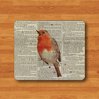 Vintage Old Newspaper Watercolor Bird Mouse Pad Love Art Animal MousePad For Office Desk Deco Work Pad Mat Rectangle Personal Gift Valentine