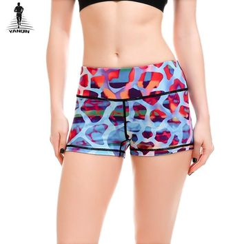 YANQIN Workout Fitness Women Yoga Sports Shorts Leopard 3D Printed Girls Gym Dance Quick Drying Yoga Sport Shorts Plus Size