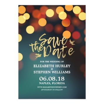 Modern Teal Gold Bokeh Light Wedding Save The Date Card
