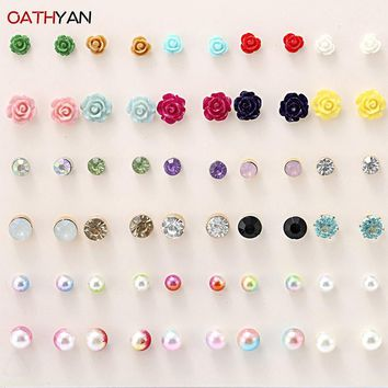 OATHYAN 30 Pairs/Lot Simulated Pearl Earrings Punk Resin Flower Crystal Glass Stone Mix Stud Earring Set For Woman Jewelry Gift