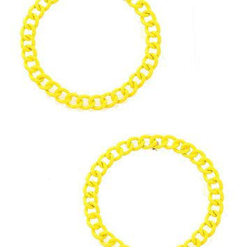 Yellow Colored Metal Large Chain Ring Earring