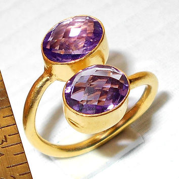 Handmade Ring, Amethyst Ring, Gold Plated Ring, Adjustable Ring, Faceted Ring, Double Stone Ring, Oval Stone Ring, Gold Vermeil Jewelry
