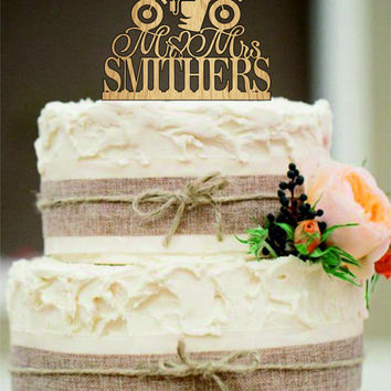 Custom Wedding Cake Topper Mr and Mrs with a Motorcycle - Rustic Wedding Cake Toppers - Motorcycle cake toppers, Personalized Cake Topper