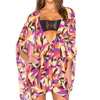Colorful Leaves Print V Neck Summer Beach Cover-up