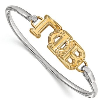 14K Plated Silver Gamma Phi Beta Large Clasp Bangle - 6 in.