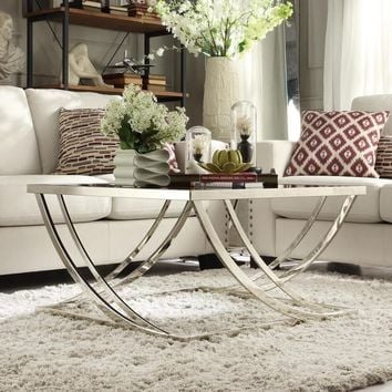 Anson Steel Brushed Arch Curved Sculptural Modern Coffee Table by iNSPIRE Q Bold | Overstock.com Shopping - The Best Deals on Coffee, Sofa & End Tables