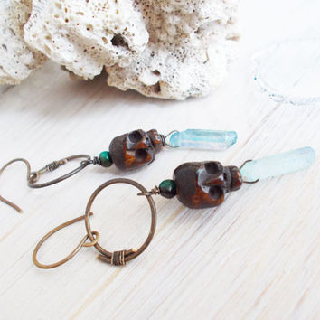 Primitive carved wood skull & aqua quartz point dangle earrings, hammered hoops, turquoise, oxidized brass, tribal artisan jewelry