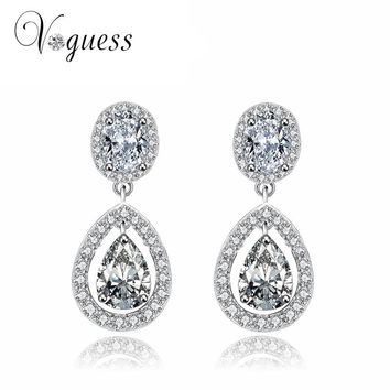 VOGUESS Hot Brilliant Cut Cubic Zirconia Drop Earrings For Women Bridal Wedding Earring Fashion Cheap Brinco with Jewelry Box