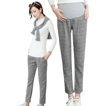 Casual Loose Maternity Plaid Pants Spring Autumn Pregnancy Clothes Bottoms Adjustable Pants Trousers for Pregnant Women Clothing