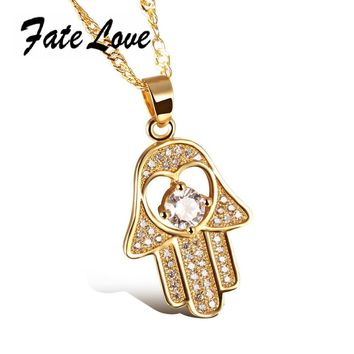 Fate Love Fashion Gold Color Fatima Hand Necklaces Full CZ Filled Pendant & Necklace Hamsa Hand Chain Woman Jewelry Gift FL632
