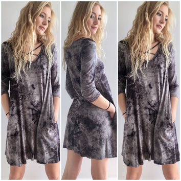 Tie Dye Tee Shirt Dress in Black