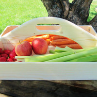 Handmade Wood Garden Caddy with handle, Carrying Box with Handle, Unfinished tray box with handle