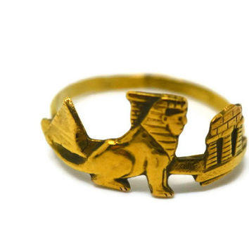 Gold Sphinx Ring 14K Gold Fill Ring, Handforged Egyptian Ring, Pyramids, Ancient Egypt