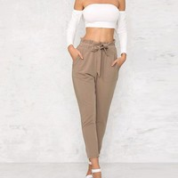 Summer OL Chiffon High Waist Harem Pants Women Summer Style Casual Pants Female Black Trousers