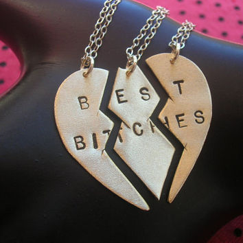 BEST BITCHES Ménage à Trois/THREESOME--Brass Split Heart Necklace, Best Friends Charm Necklaces, Handstamped Necklace, Partners in Crime