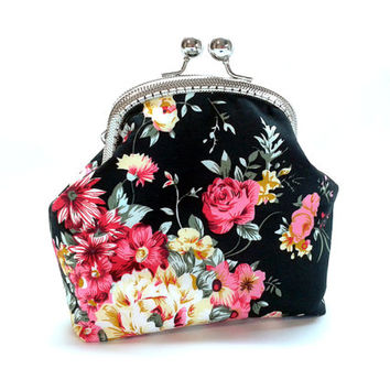 Clutch Wallet - Kiss Lock Purse with cards slot  - Silver Frame - Frame Coin Purse - Floral Cotton Purse