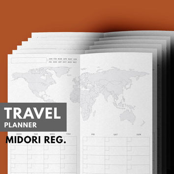 Travel Planner Printable, Travel Journal, Vacation Planner, Midori Insert, Midori Refill, Travel Itinerary, Midori Traveler's Notebook