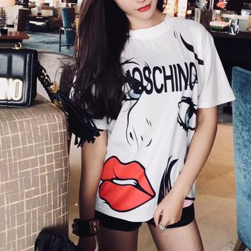 moschino women casual fashion letter red lip beauty print short sleeve t shirt top tee