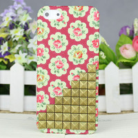 Red Dot Small Rose Hard Case Cover With Bronze Stud for Apple iPhone 5 Case iPhone 5 Cover iPhone 5 Case iPhone 5g
