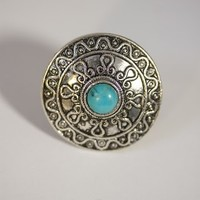 Silver Turquoise Stone Shield Ring - Boho Outfitters