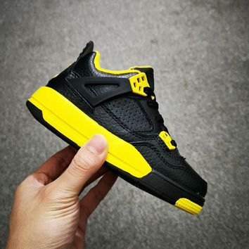 Air Jordan 4 Retro Black Yellow Thunder Toddler Kid Shoes Child Sneakers - Best Deal Online