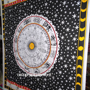 Astrology Tapestry, Hippie Tapestries Indian Zodiac Bedspread Bed Cover Throw Boho Wall Hanging Queen Hippie Coverlet, Bohemian Wall Decor