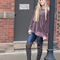 Must Have Mocha Plum Velvet Top