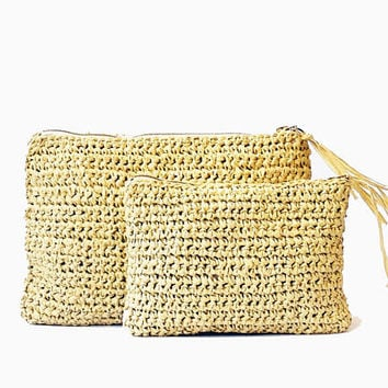 Natural straw raffia crochet clutch summer beach bag boho straw purse straw beach bag, woven clutch, straw purse, summer bag, tan straw bag