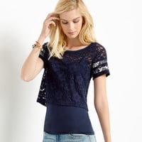 Womens Map to Mars Sheer Happy Lace Crop Top