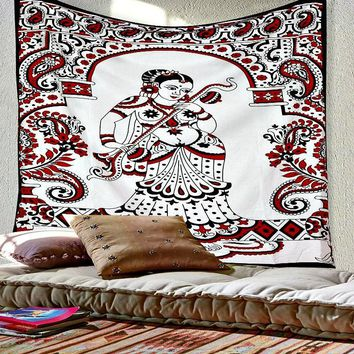 Sitar Playing Dynasty Queen Boho India Cotton Wall Bed Tapestry
