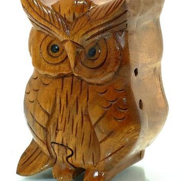 Handcarved Wooden Owl Puzzle Boxes