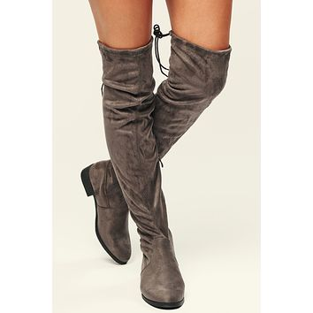 Big Dreams Over The Knee Boots (Grey)