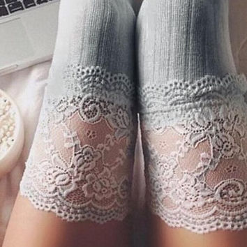 Vanity Floral Lace Knit Thigh High Socks (Charcoal)