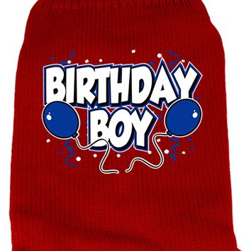 Birthday Boy Screen Print Knit Pet Sweater Xxl Red