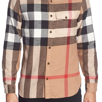 Men's Burberry the Britain 'Jamie' Trim Fit Flannel Sport Shirt,