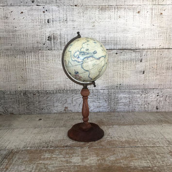 Small World Globe Vintage World Globe with Wood Stand Tabletop Globe Desk Globe Antique World Map Miniature Globe Vintage Travel Decor