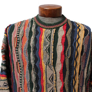 Raainbow Coogi Style Sweater Multi Color Biggie Snoop Size Large / XL