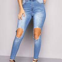 Blue High Waisted Ripped & Distressed Jeans | LASULA